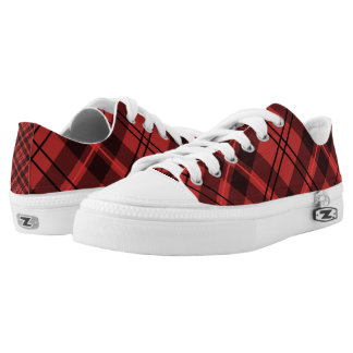 Red Plaid Pattern Printed Shoes