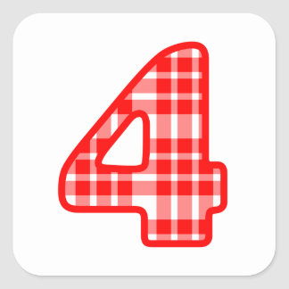 Red Plaid Patterned Number 4 Four A15 Square Sticker