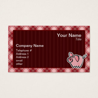 Red Plaid Pig Business Card