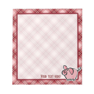 Red Plaid Pig Notepad