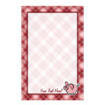 Red Plaid Pig Personalised Stationery