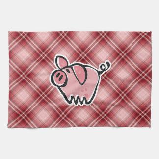 Red Plaid Pig Tea Towel