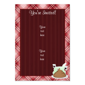 Red Plaid Poop 5x7 Paper Invitation Card