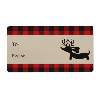 Red Plaid Reindeer Dachshund Gift Tag Labels