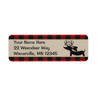 Red Plaid Reindeer Dachshund Return Address Labels