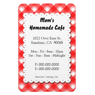 Red Plaid Restaurant Advertisement Template Magnet