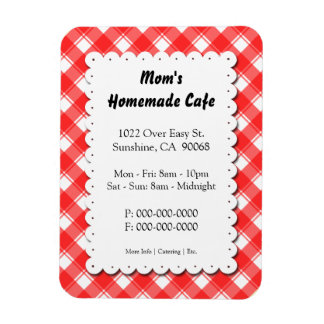 Red Plaid Restaurant Business Magnet