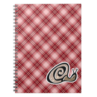 Red Plaid Snail Note Book