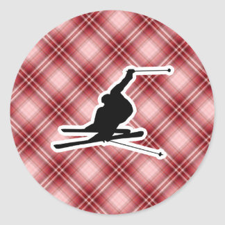 Red Plaid Snow Skiing Stickers