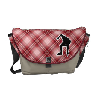 Red Plaid Speed Skater Commuter Bag