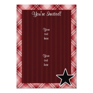 Red Plaid Star 13 Cm X 18 Cm Invitation Card