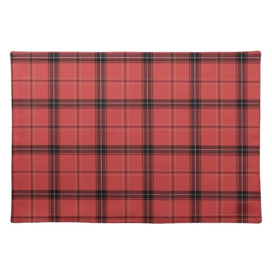 Red Plaid Tartan Christmas Holiday Pattern Placemat