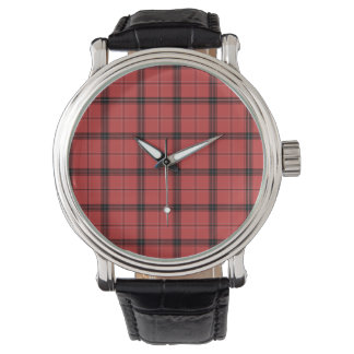 Red Plaid Tartan Christmas Holiday Pattern Watch