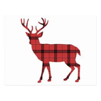 Red Plaid Tartan Pattern Christmas Holiday Deer Postcard