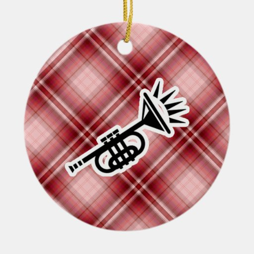 Red Plaid Trumpet Christmas Tree Ornament