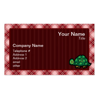 Red Plaid Turtle Double-Sided Standard Business Cards (Pack Of 100)