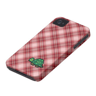 Red Plaid Turtle iPhone 4 Case-Mate Case