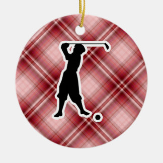 Red Plaid Vintage Golfer Christmas Ornament