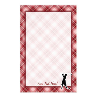 Red Plaid Vintage Golfer Personalised Stationery
