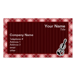 Red Plaid Violin Business Card Templates