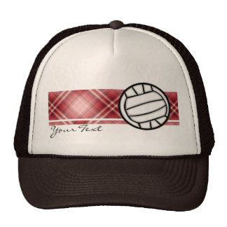 Red Plaid Volleyball Trucker Hat