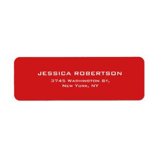 Red Plain Elegant Modern Trendy Return Address Label