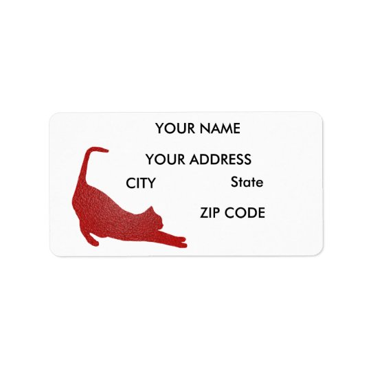 Red Plastic Cat Address Labels