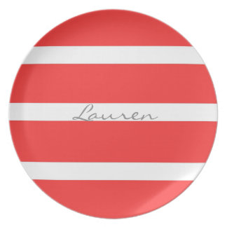 RED PLATE WITH WHITE STRIPES