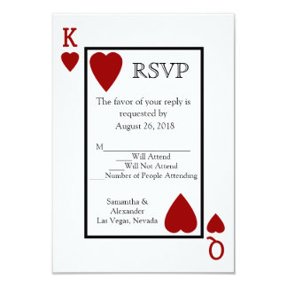 Red Playing Card Matching RSVP Custom Announcements
