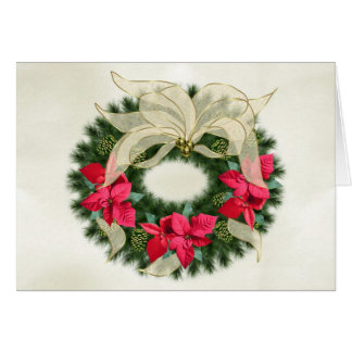 Red Poinsetta Christmas Wreath Greeting Cards