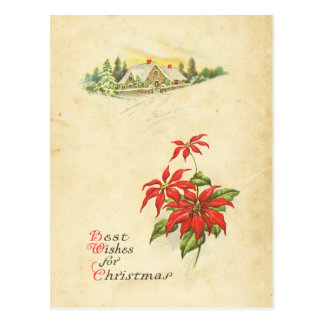 Red Poinsettia Best Wishes Vintage Christmas House Postcards