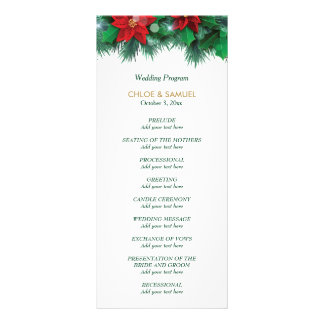 Red Poinsettia Border Wedding Program Rack Card