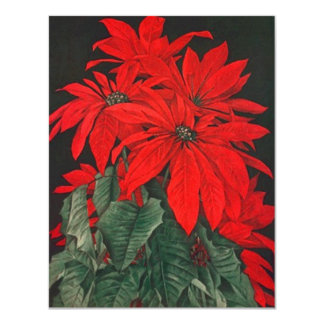 RED POINSETTIA BOUQUET HOLIDAY PARTY INVITATIONS