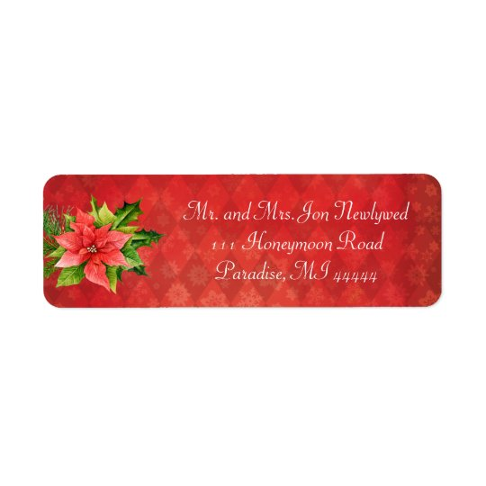 Red Poinsettia Christmas Addredd Label Return Address Label
