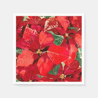 Red Poinsettia Christmas Disposable Serviette