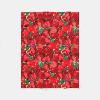 Red Poinsettia Christmas Fleece Blanket