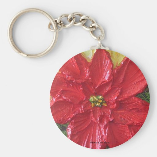 Red Poinsettia Christmas Keychains