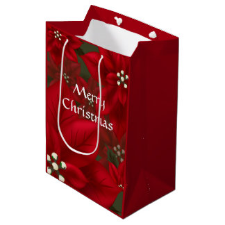 Red Poinsettia Christmas MGB Medium Gift Bag