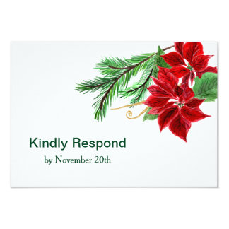 Red Poinsettia Christmas Wedding RSVP Card