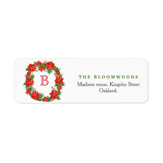 Red Poinsettia Christmas Wreath Monogram Holiday Return Address Label