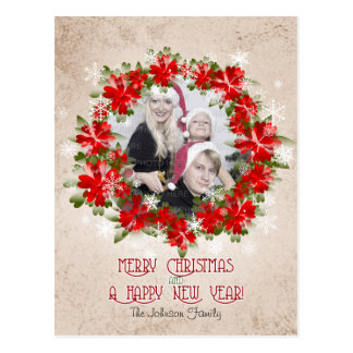 Red Poinsettia Crown And Snowflakes Christmas Post Card