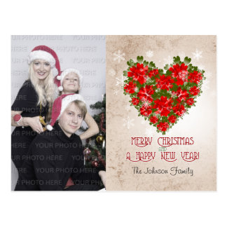 Red Poinsettia Crown And Snowflakes Christmas Post Cards