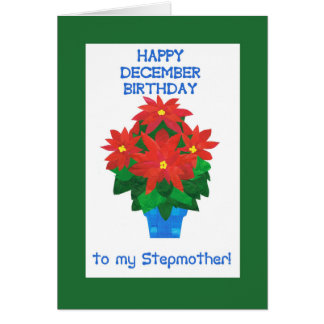 Red Poinsettia December Birthday for Stepmother Card