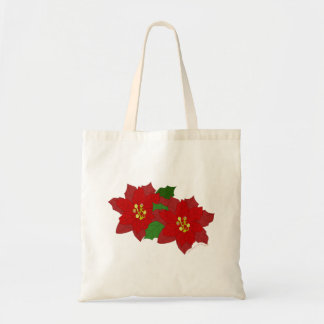Red Poinsettia Flower Christmas Blossom Budget Tote Bag