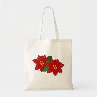 Red Poinsettia Flower Christmas Blossom Budget Tote Bag