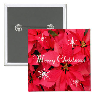 Red Poinsettia Flowers Merry Christmas Snowflakes 15 Cm Square Badge