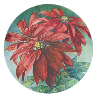 Red Poinsettia Flowers Vintage Painting Dinner Plate