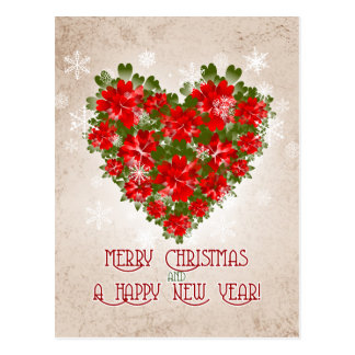 Red Poinsettia Heart And Snowflakes Christmas Postcard