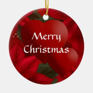 Red Poinsettia Hearts Merry Christmas Custom Christmas Ornament