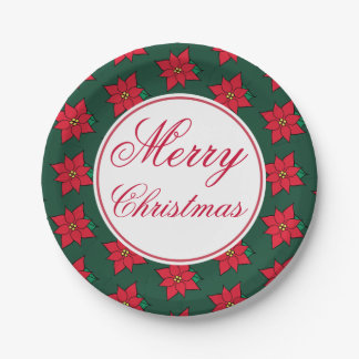 Red Poinsettia Merry Christmas Party Paper Plates